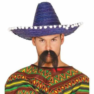 Blauwe sombrero/mexicaanse hoed 45 cm voor volwassenen