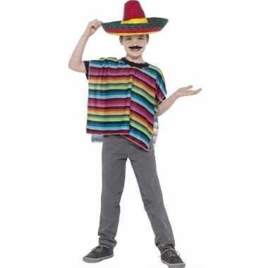 Mexicaanse poncho gekleurd voor kinderen