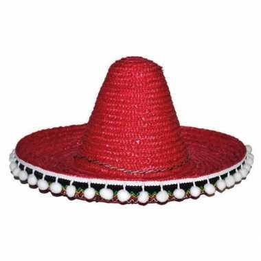 Rode sombrero 25 cm voor kinderen