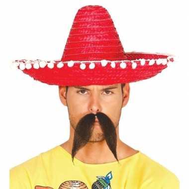 Rode sombrero/mexicaanse hoed 45 cm voor volwassenen