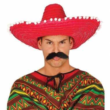 Rode sombrero/mexicaanse hoed 50 cm voor volwassenen