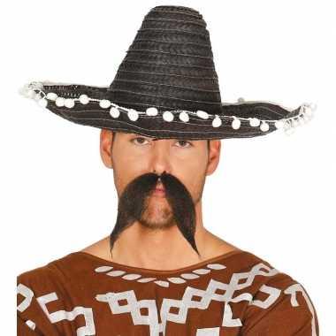 Zwarte sombrero/mexicaanse hoed 45 cm voor volwassenen